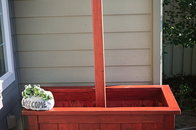 Garden box with pole for hanging baskets