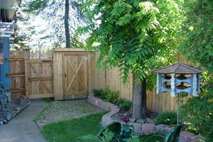 Our fence storage shed combination!