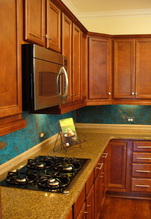kitchen copper backsplash by dchi