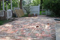 Brick Patio with mill stone accents