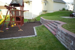 Backyard Block wall and play set