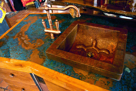 Copper countertop made from an azul patina copper sheet for How to make a copper bar top
