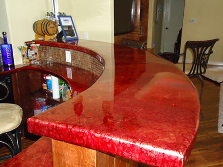 Copper Bar Top in Home Basement