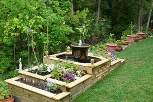 Raised garden with water feature