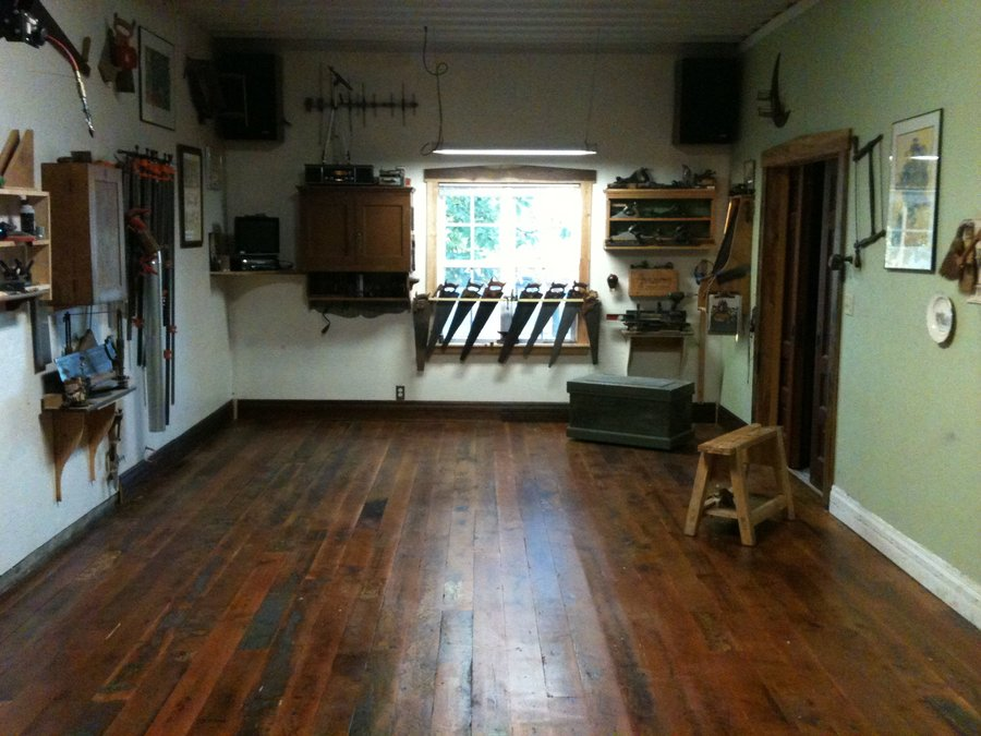 New Wood Floor In Shop By Smitty Cabinetshop Homerefurbers Com