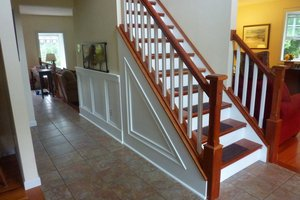Cherry staircase newel post railng